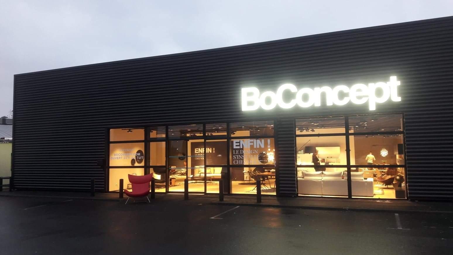 Aménagement intérieur et extérieur du magasin BO CONCEPT Caen