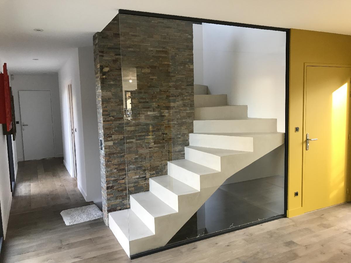 Garde corps verre maison architecte Mont St Aignan