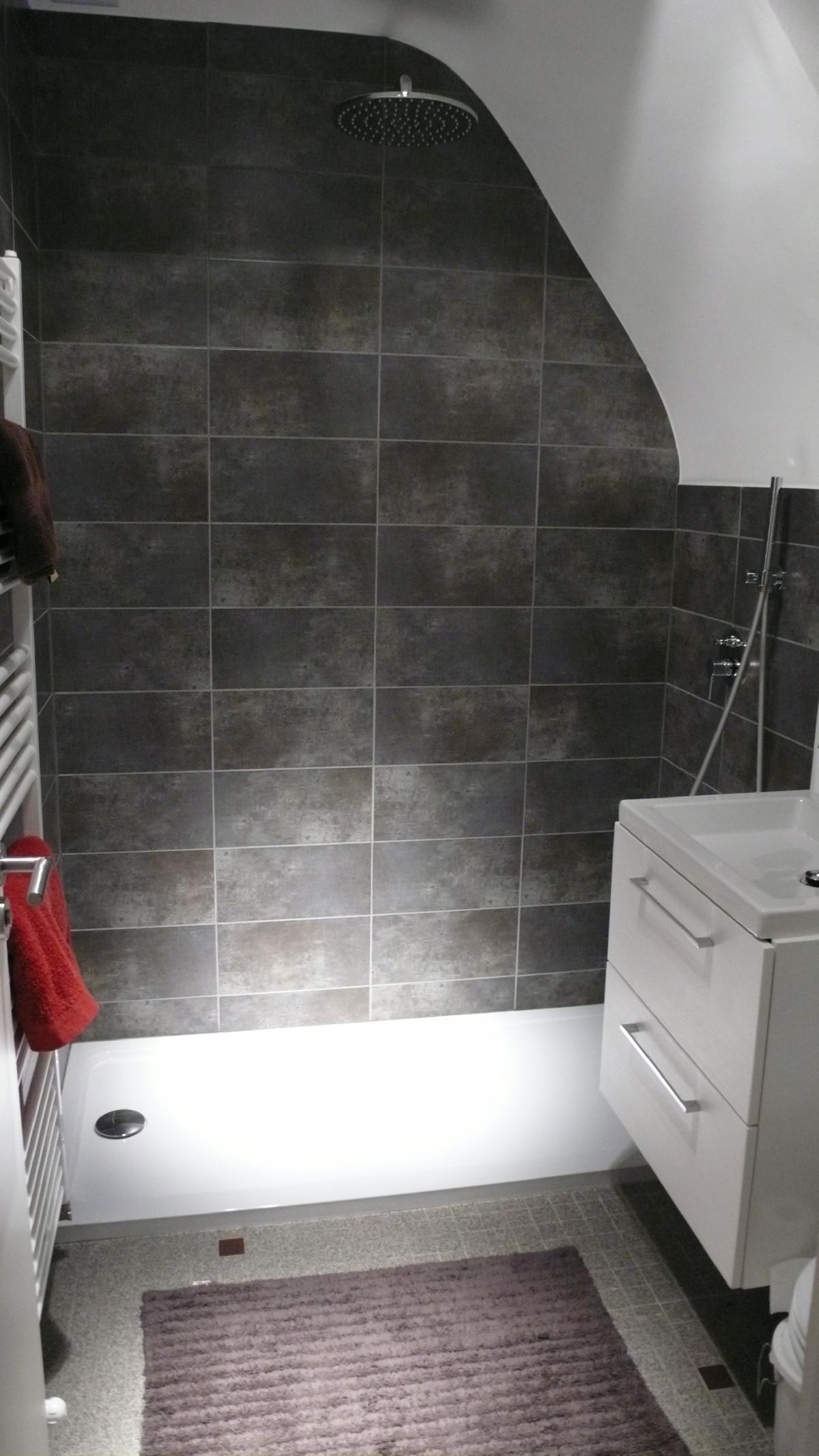 Pose d'une paroi douche en arrondi sur le plateau du Neubourg